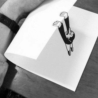 Gambar Keren Kertas Hitam Putih Jatuh